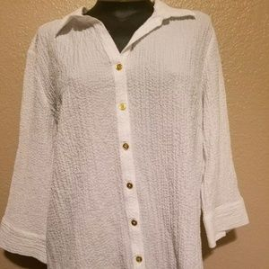 Dana Buchman White button up blouse gold buttons